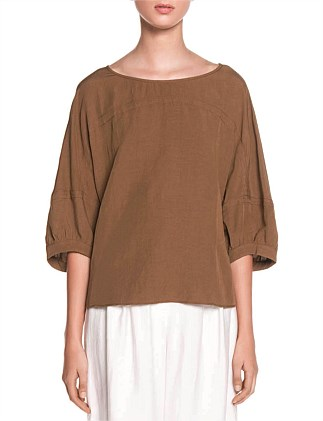 LINEN MIX BLOUSON SLEEVE TOP