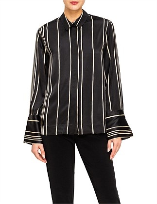 STRIPED CHARMEUSE SHIRT