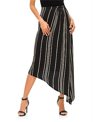 STRIPED CHARMEUSE SKIRT