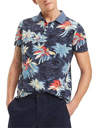 ALLOVER FLOWER PRINT SLIM POLO