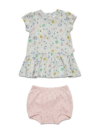 Short Sleeve Dress & Bloomer (NB-1Y)