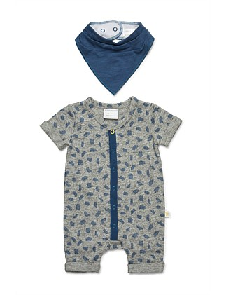 Short Sleeve Romper & Bib (NB-1Y)