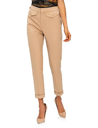 STRETCH WOOL SATIN PANT LOOK