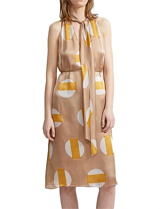 HALTER SCARF PRINT DRESS