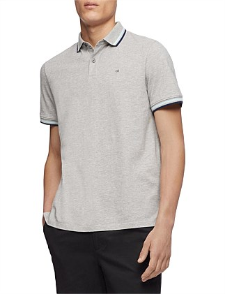 SS SOLID PIQUE POLO COLOR BLOCKED TIPPING