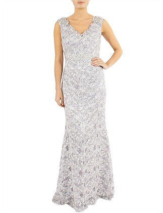 Orchid Sequin Lace Gown