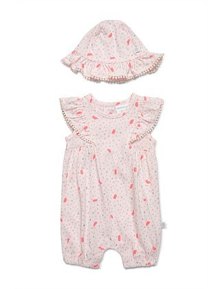 Frilled sleeves romper & sun hat (NB-1Y)