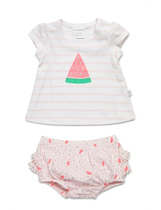 Short sleeve top and frilled bloomer set (NB-1Y)