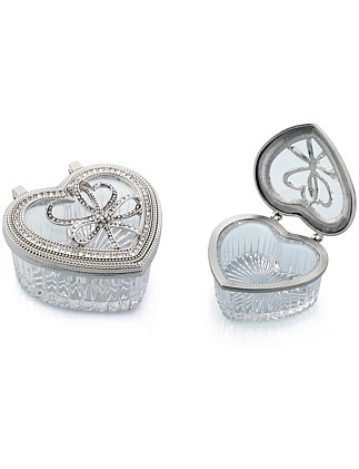 Heart Shaped Glass Tricket Box
