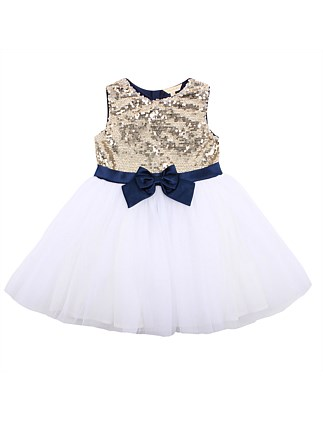 Sequin Bodice Dress W Bow(3 Months - 2 Year)