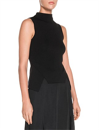 SLEEVELESS ANGLED HEM KNIT