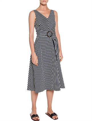 LINEN STRIPE V NECK DRESS