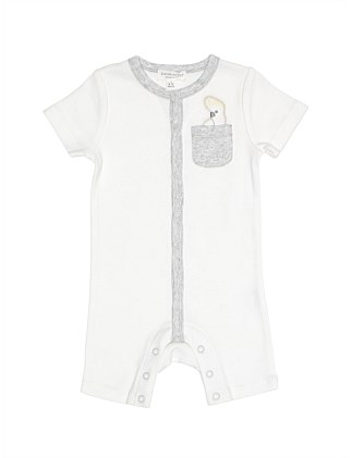ORGANIC COCKATOO EMB SNAP SHORTALL (NB-1Y)