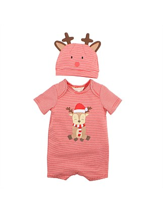 Stripe Reindeer Romper And Horns Set (3M-2Y)