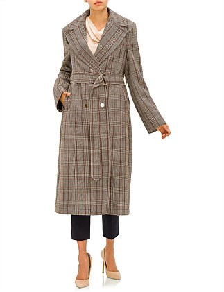 FITTED PRINCE OF WALES CHECK COAT