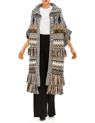 FAIRISLE FRINGED KNITTED LONG CAPE/CARDIGAN