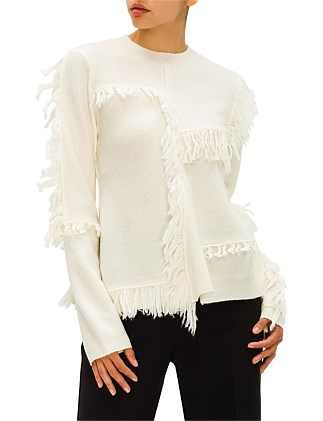FRINGED PATCHWORK JUMPER
