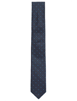 Patterned silk tie with logo-motif jacquard