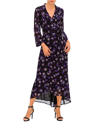 PRINTED PANSY GEORGETTE LONG DRESS