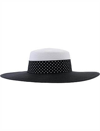 two tone hat with spot trim