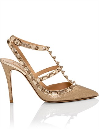 100MM ROCKSTUD ANKLE STRAP PUMP STUDS TONE ON TONE