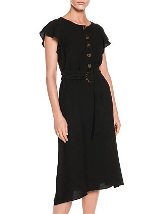 FLUID TEXTURE BELTED DRESS