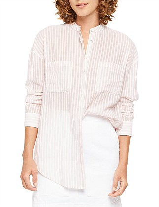 RELAXED COLLARLESS SHIRT