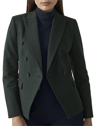 Wool Blend Double Breasted Blazer