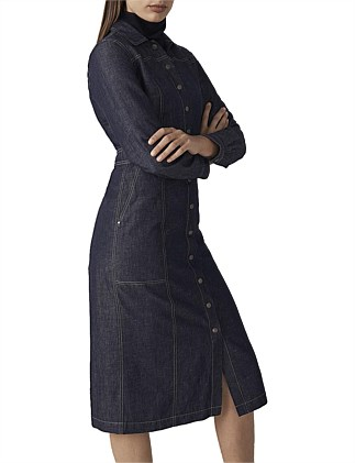 Yarn Dyed Button Front Shirt Dress