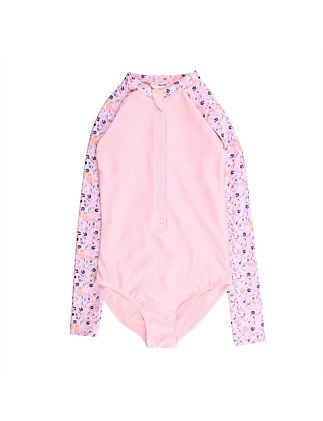 Youth Girls Floral LS Sunsuit