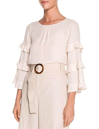 LIGHT GEORGETTE PLEATED SLEEVE TOP