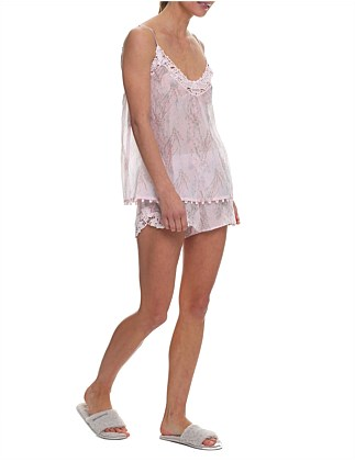 FALLING BLOSSOM LACE FRONT CAMI AND BOXER