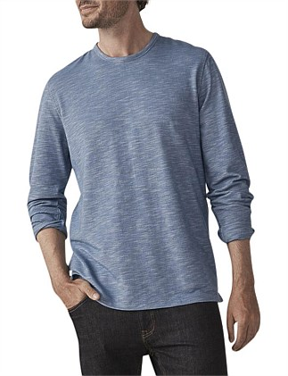 YARN DYED PIQUE LONG SLEEVE T-SHIRT