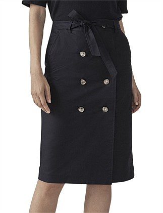 COTTON BUTTON FRONT SKIRT