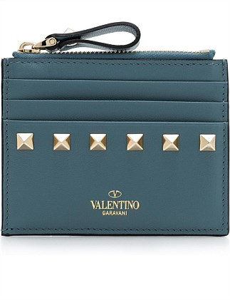 ROCKSTUD CARD CASE WITH ZIP
