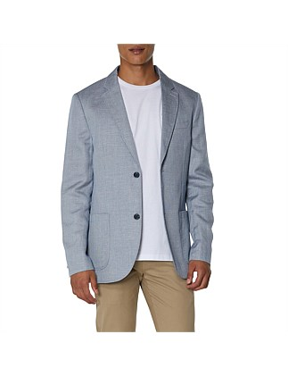TEXTURED LINEN BLEND BLAZER NAVY WHITE
