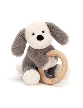 Jellycat Puppy wooden ring toy