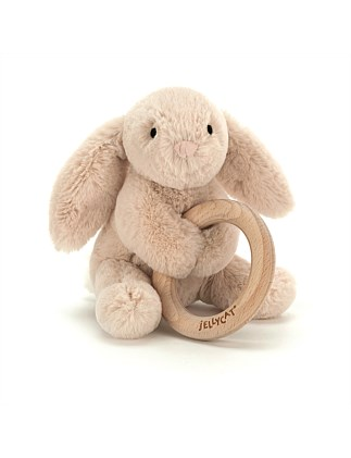 Jellycat Bunny wooden ring toy