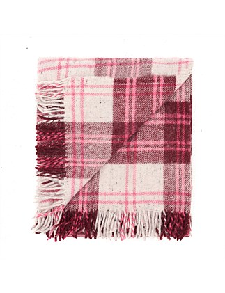 Recycled Wool Travel Rug Wine/Pink