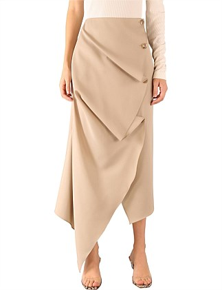 TAUPE WOOL CORDELIA SKIRT
