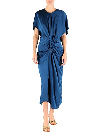 Cobalt Satin Illusionist Dress