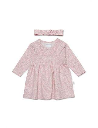 WILD Long sleeve dress and headband (NB - 1Y)