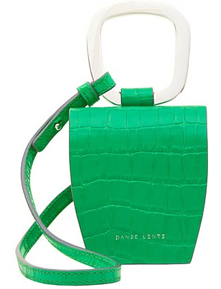 Pablo Crocodile-Effect Green Leather Cross-Body Bag