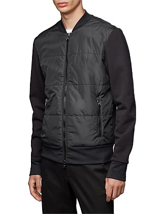 Regular-Fit Bomber-Style Sweatshirt With Quilted Front