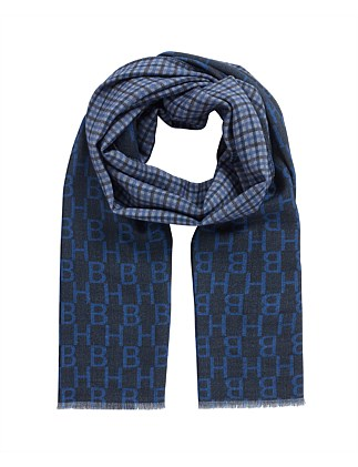 Italian-Made Wool Scarf With Monogram And Check Print