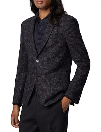 Slim-Fit Jacket In A Checked Wool Blend