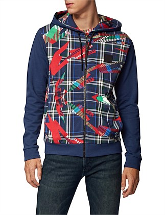 Hooded Jacket In French Terry With Algorithm Print