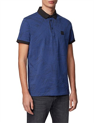 Cotton Polo Shirt With Algorithm-Script Print