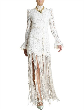 Wavelength Fringed Gown Dress