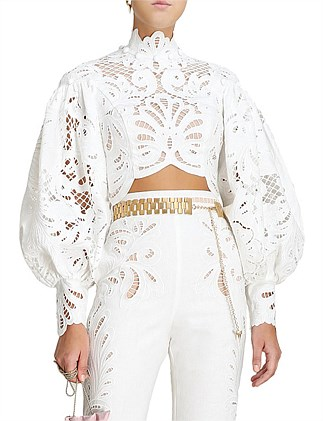 Wavelength Embroidered Long Sleeved Bodice Top